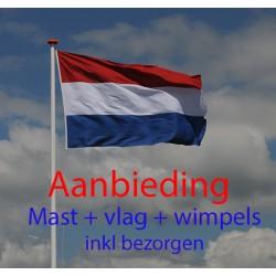 6 meter mast met vlag en wimpels oranje en rood/wit/blauw